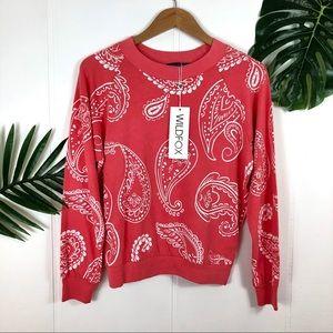 WILDFOX Melon Paisley Crewneck Sweatshirt Medium